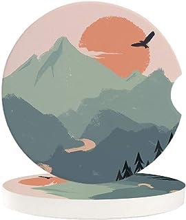 Saugstarke Auto Untersetzer für Getränkehalter, Bergwasser, Sonnenaufgang, Adler, Wald, 2 Stück Keramik Kaffee Untersetzer | perfektes Autozubehör mit lebendigen Farben
