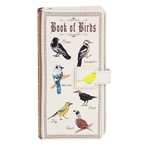 Shagwear Junge-Damen Geldbörse, Large Purse Designs: (Buch der Vögel Creme/Book of Birds Beige)