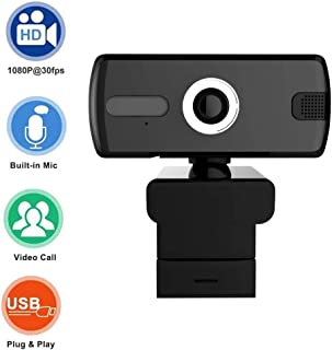 HD 1080P Webcam Camera, Webcam with Microphone, USB Plug and Play, Computer Webcams for PC MAC Laptop Desktop Video Callings Gaming Live Stream and Conference