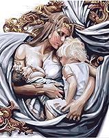 DIY油絵番号別油絵フィギュアペイント番号別家の装飾用母親と赤ちゃん 40×50cm