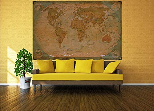 GREAT ART Poster � World Map Antique Style � Picture Decoration Globe Ancient Vintage Card Used Look Atlas Map Old School Image Photo Decor Wall Mural (55x39.4in - 140x100cm) Photo #5