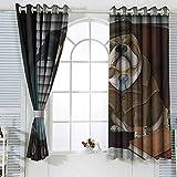 Sala de estar dormitorio ventana cortinas Bulldog Inglés tradicional perro detective inglés con una pipa y sombrero Sherlock Holmes imagen impermeable W72x63L pulgadas multicolor