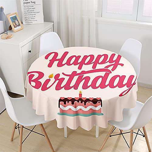 Chickwin Mantel Redondo para Mesa Impermeable y Antimanchas, Mantel de Birthday Party Creativo, Mantel de Poliéster para Jardin, Comedor, Cocina, Salón Decoración (Pastel Cumpleaños,150cm)