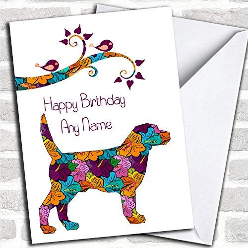 Oranje & Paars Bloemen Hond Verjaardagskaart Met Envelop, Kan Volledig Gepersonaliseerd, Verzonden Snel & Gratis
