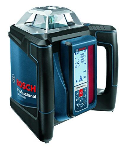 Bosch Professional 06159940EE - Set nivel láser giratorio GRL 500 H + LR50 + BT170 + GR 240 (autonivelación horizontal, alcance 500 m. con receptor, IP 56, con maletín=