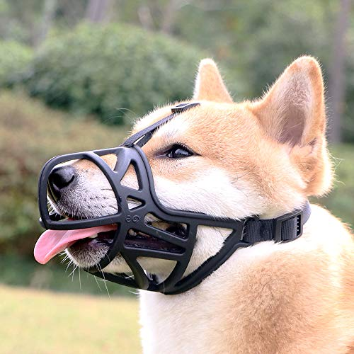 Mayerzon Dog Muzzle, Breathable Basket Muzzle to Prevent Barking, Biting and Chewing, Humane Muzzle for Small, Medium, Large and X-Large Dogs (L, Black)