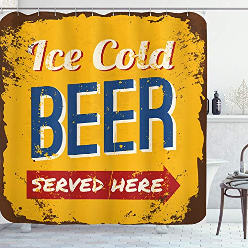 Ambesonne Man Cave Shower Curtain, Vintage Worn Out Rusty Sign Design with Ice Cold Beer Served Here Beverage Print, Cloth Fabric Bathroom Decor Set with Hooks, 70