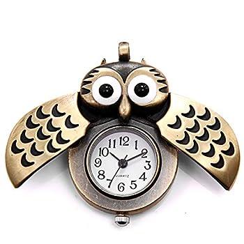 JewelryWe Vintage Retro Owl Bronze Steampunk Locket Pocket Watch Pendant Long Chain 31.5 Inch for Mothers Day