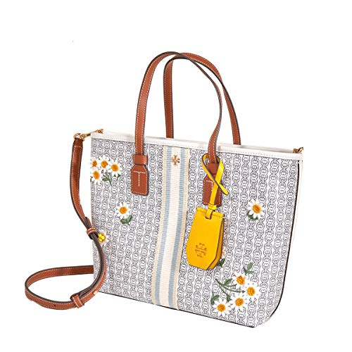 Tory Burch Gemini Link Canvas Applique Small Tote New Ivory Gemini Link One Size