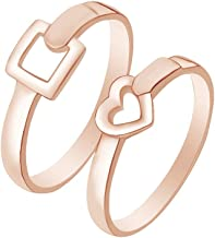 AFFY Square Heart Couple Band Ring 14k Rose Gold Over Sterling Silver