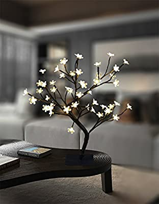 Lightshare 17.7 Inch Cherry Blossom Bonsai Tree, 48 LED Lights, 24V UL Listed Adapter Included, Metal Base, Warm White Lights, Ideal as Night Lights, Home Gift Idea