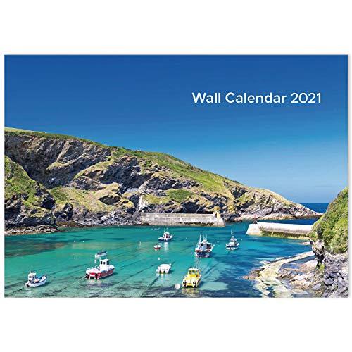 Calendario de Pared 2020 2021 - mes para ver el calendario con escenas costeras, julio de 2020 a diciembre de 2021 para organización y planificación, 29.5 X 42 CM (ABIERTO)