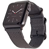 Carterjett Compatible with Apple Watch Band 38mm 40mm Nylon iWatch Band Replacement Strap Military Style Grey Hardware Compatible for Apple Watch Sport Nike Series 5 Series 4 3 2 1 (38 40 S/M/L Gray)