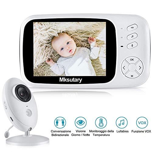 Baby Monitor, Mksutary Baby monitor video,3,5 Inch HD LCD Babyphone, Baby monitor with camera, VOX mode, Visione Notturna, Ninnananna, Monitoraggio Della Temperatura, Comunicazione bidirezionale
