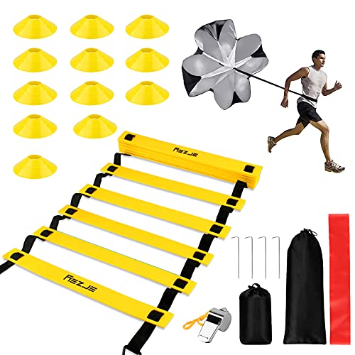 omitium Échelle de Rythme Entrainement, Echelle de Vitesse Entraînement, Échelle d'agilité pour Les Exercices de Vitesse et de Coordination 6M avec Cones de Sport & Parachute de Résistance