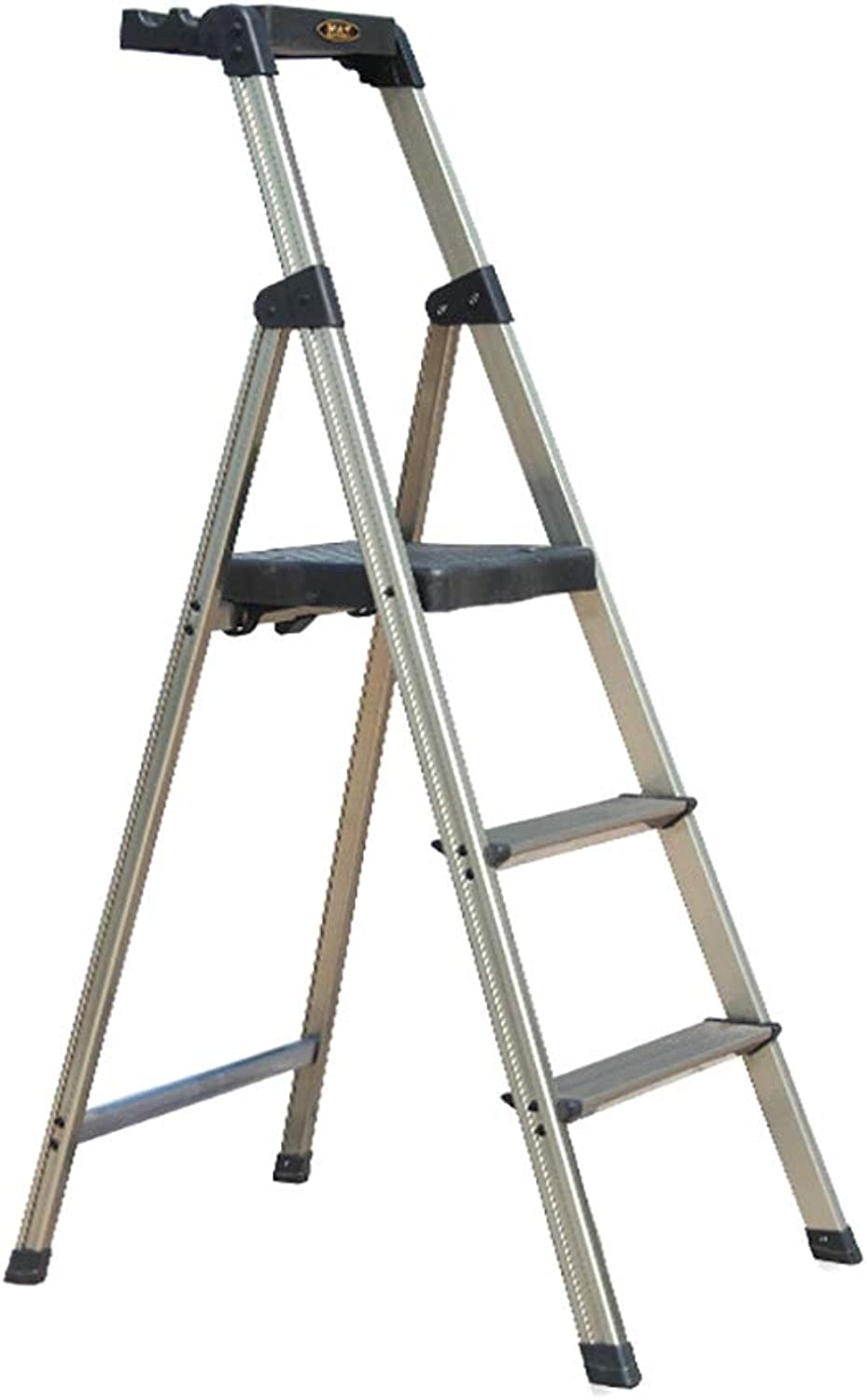 TH Ladder Stools Multifunction Fold 3 Steps Ladders Thicken Wide Pedal Non-slip Ladder Household Step Stool (color   gold)