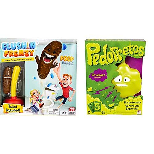 Mattel Games - Baño Boom, ¡Atrapa la Caca!, Juego de Mesa Infantil (FWW30) + Games - Pedorretas, Juegos de Mesa para Niños (Mattel DRY35)