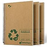 Write Paper Cuaderno A5 Libreta, Pack de 3 Bloc de Notas Espiral, Papel Rayado Perforado 80 Hojas ( 160 Páginas ) Cubierta de Kraft