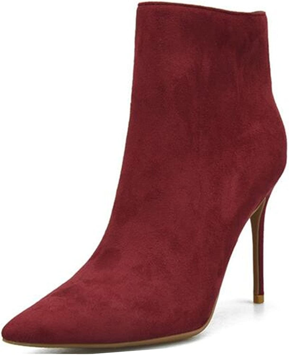 XIUWU Women's Stiletto Ankle Boots Dinner Party Pumps