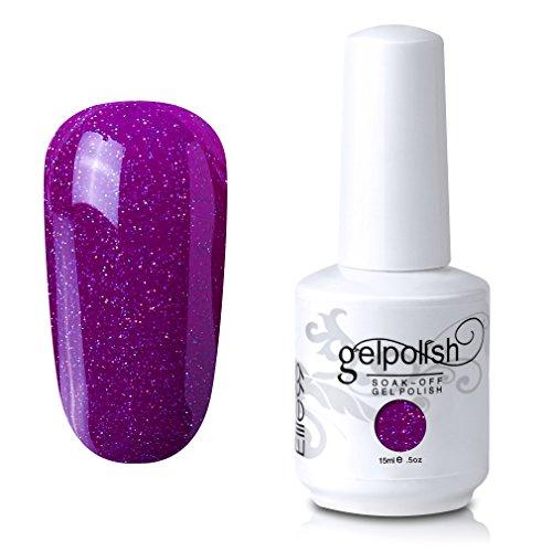 Elite99 Soak-Off UV LED Gel Polish Nail Art Manicure Lacquer Glitter Deep Magenta 357 15ml