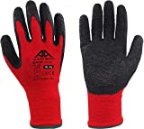 active gear guanti per la sicurezza sul lavoro, protezione e potenza di presa estrema, in edilizia, logistica, manutenzione e giardinaggio, rosso, 8 paia (taglia 10/xl)