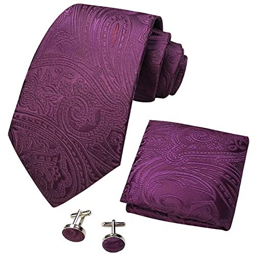CANGRON Corbata de Paisley de Ciruela para Hombre, Conjunto de Corbata de Gemelos Cuadrados de Bolsillo para Hombre DLSP8FZ