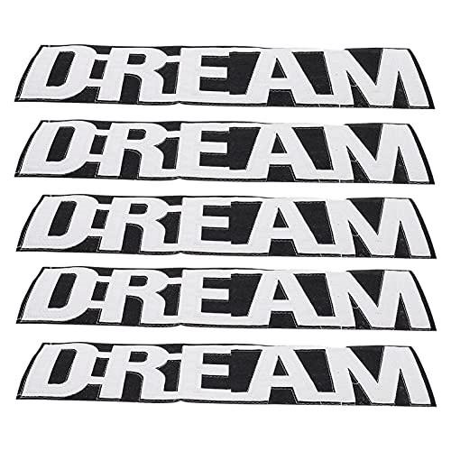 HEALLILY 5 Parches de Costura en Letras Apliques de Hierro en Sueños Parches Bordados Insignia de Reparación Decorativa para Ropa Jeans Sombrero Bolsa Decoración de Camisa