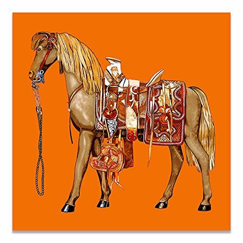 LGHLJ Cuadro de Lienzo de Animal clásico Saudita, póster de Caballo Abstracto, Arte Mural de Caballo, imágenes de Lujo para Sala de Estar, decoración Mural del hogar, 60x60 cm/sin Marco