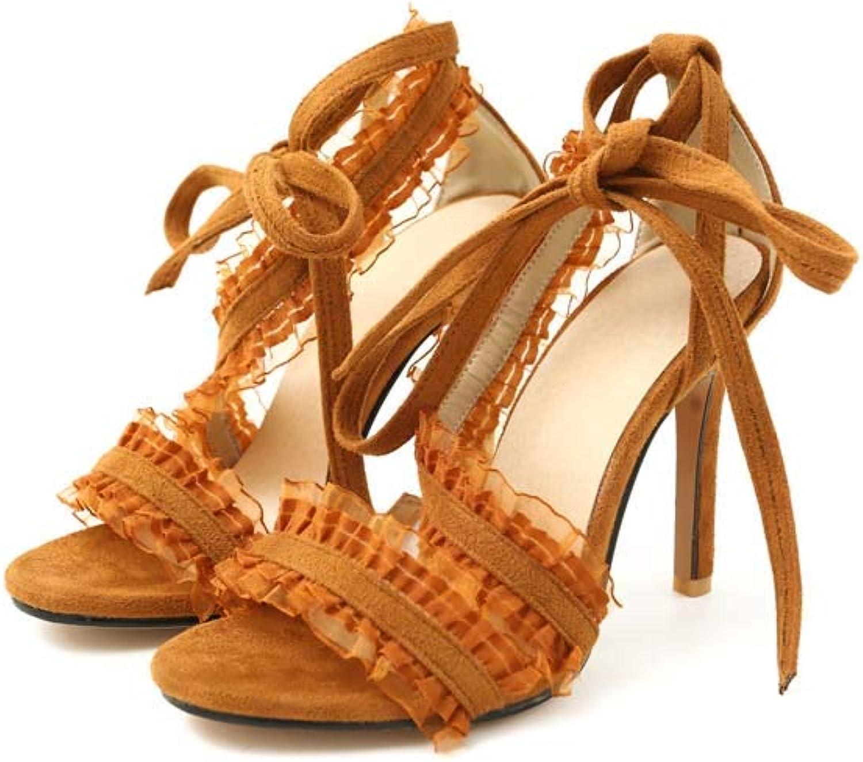MSSugar Damen Cross Strap High Heel Sandalen Sweet Elegante Spitzensandalen Schwarz Braun Beige