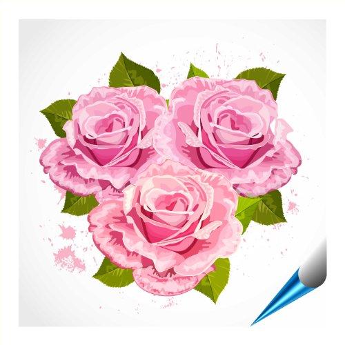Adesivi per piastrelle per bagno e cucina–20x 20cm–Motivo bouquet di rose–6adesivi per piastrelle per muro di piastrelle