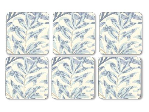 Pimpernel 10.5 x 10.5 cm MDF avec Dos en liège Willow Bough sous-Verres, Lot de 6, Bleu/Multicolore