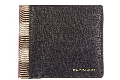 Burberry portafoglio uomo pelle bifold originale tartan house check nero