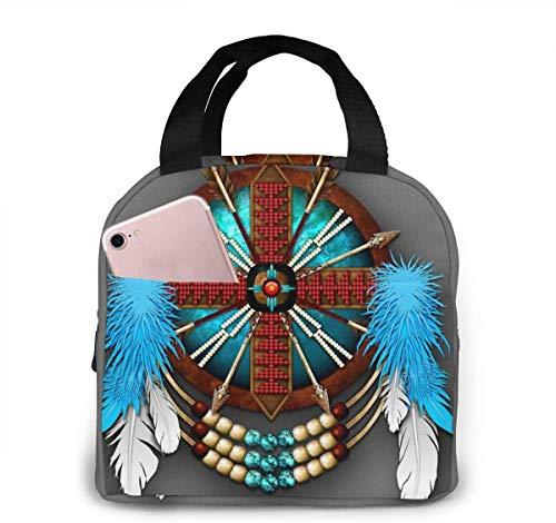 Bolso de almuerzo de moda con mandala nativo americano, bolso térmico aislado resistente al agua con bolsillo para oficina / escuela / exterior-Negro-Talla única