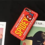 Soft TPU Red Spider-Man Case for iPhone 7Plus 8Plus 7+ 8+ Rubber 3D Marvel Cartoon Thick Drop Resistant Shockproof Protective Gift Kids Teens Girls Special Cute Lovely Japanese Chinese