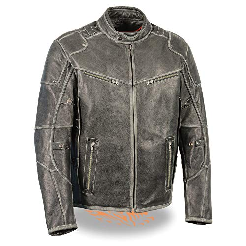 Milwaukee Leather MLM1536 Men's Vintage Grey 'Triple Vent's' Leather Jacket with Dual Gun Pockets - 5X-Large