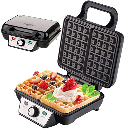 Waffeleisen | 1600 Watt | Waffelautomat | Elektrogrill | Wafflemaker | Paninigrill | Waffeltoaster | Waffle Maker | (Silber/Schwarz)