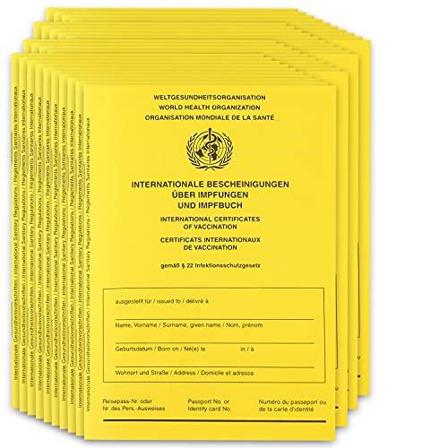 50x Impfpass inkl. Hülle – 2021 WHO Zertifiziert Impfausweis Impfbuch international - inkl. Covid-19 Seite + Impfpasshülle