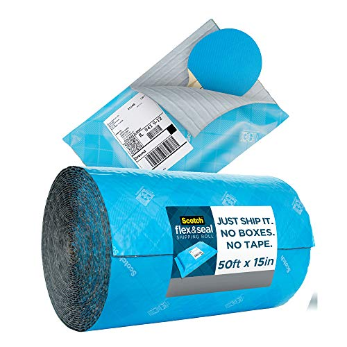 Scotch Flex and Seal Shipping Roll 50 ft x 15 in, Just Ship It, No Boxes, No Tape, Easy Packaging Alternative to Poly Mailers, Shipping Bags, Bubble Mailers, Padded Envelopes, Boxes