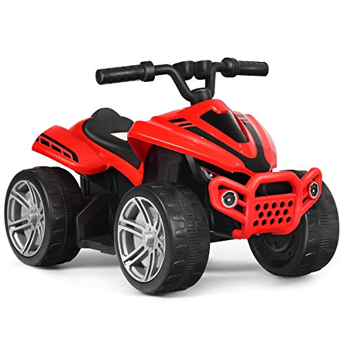 Costzon Kids Ride on ATV, 6V Battery Powered Electric Quad, 2 Speeds, Forward/ Reverse Switch, Ride On Rear Wheeler Motorized Mini Vehicle Toy Car for Toddlers Boys Girls (Red)