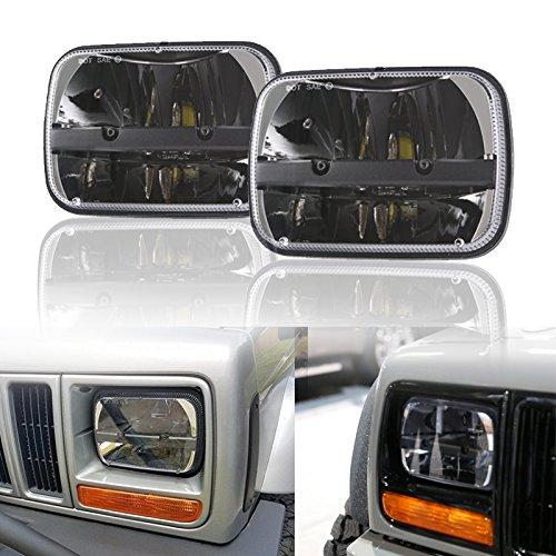 Esyauto 2 pz pollici LED faro anteriore Rettangolare 5\'\'x7 \'\' 7\'\'x6 \'\' 40W abbagliante/anabbagliante per Jeep Wrangler YJ Cherokee XJ H6014 H6052 H6054 6054