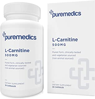 PUREMEDICS L-Carnitine 500mg - L Carnitine Capsules to Boost Cellular Energy - Clinically Tested, Purest Form - Vegan/Vege...