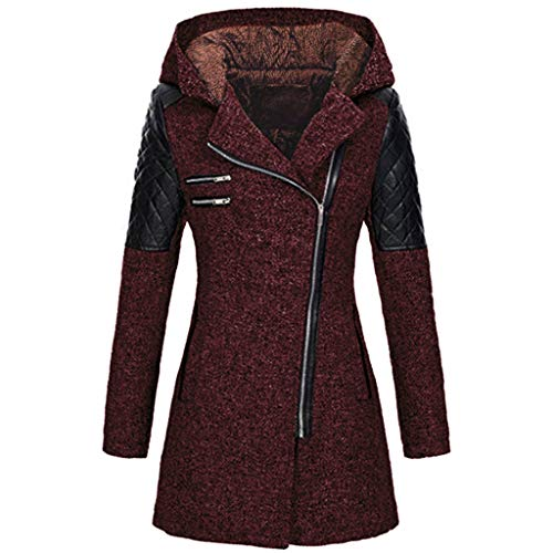 Sannysis Ledermantel Winter Outwear Hooded Zipper Mantel Damen Warm Slim Fit Patchwork Leder Jacke Trenchcoat Wintermantel Übergangs Parka Lang Winterjacke (XXL, Wein)