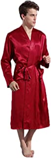 Men's Solid Color Robes Thin Modified Cardigan Nightgown Loose Large Size Long Sleeve Spring and Autumn Dressing Gown (Color : Purple, Size : L)