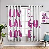 Live Laugh Love Room - Cortina de aislamiento térmico oscurecida, 99 cm de largo con mensaje de caligrafía en tonos vibrantes, tema inspirador, cortina de baño, color fucsia y blanco
