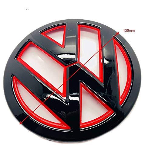 Emblema para capó de parrilla delantera de 135 mm, color negro brillante y rojo, para Golf 7/7.5 MK7 2012-2019+