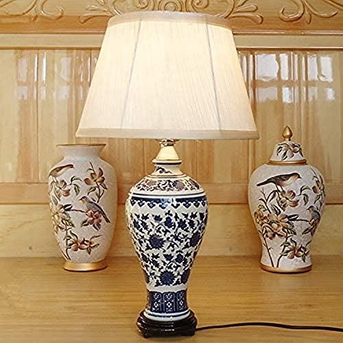 Klassiek Granaatappel Servies Tafellamp Nordic Decoratief Landschap Schijnwerper Keramiek Hoofdstad van China Zuivere handgeschilderde blauwe en witte porseleinen lamp Oude vaas Tank Bureaul