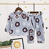 EETYRSD Medianas pequeñas y niños y otoño Invierno Gruesa Pijamas cómodo con el hogar Ropa del Copo de Nieve de Cobertura Pijamas (Color : Blue, Size : 130cm)