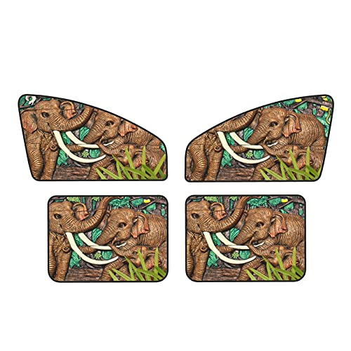 Ancient Elephant Statue Car Magnets Protect Covers Sunshades Privacy Rear/Front Cool Curtain 4 Pcs