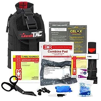 MediTac IFAK Molle - Eagle Type Tactical Trauma Kit with Tourniquet Celox Hemostatic Granules and Pressure Bandage Bleeding Control Kit - Black