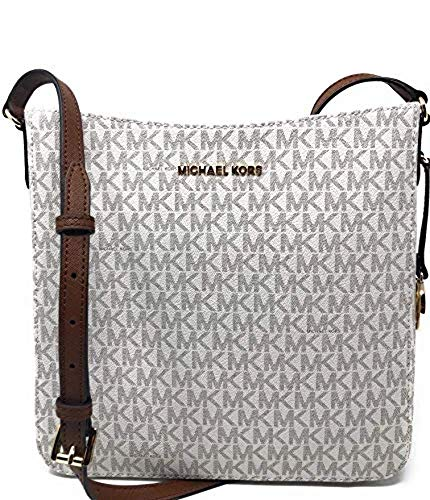 The always on trend MK Jet Set travel Large Messenger Bag in Stunning Vanilla Signature and Luggage Brown leather Style meets function with the PVC Canvas for the carefree use and zip top closure to secure your essentials. We are loving everything ab...